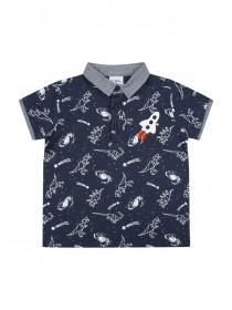 Younger Boys Blue Space Polo Shirt