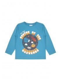 Younger Boys Blue Universe Slogan T-Shirt