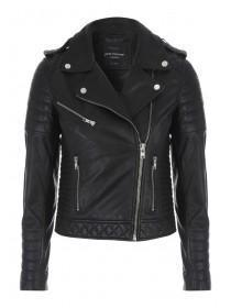 Jane Norman Black Quilted Leather Jacket