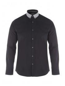 Mens Black Contrast Collar Shirt