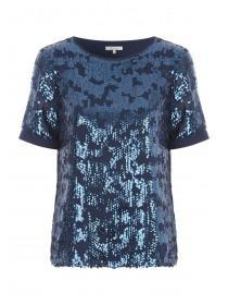 Womens Blue Sequin Top