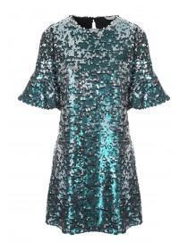 Womens Blue Sequin Frill Sleeve Dress