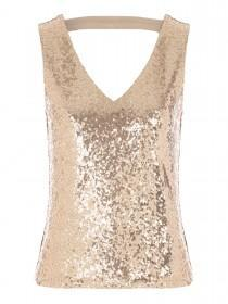 Jane Norman Gold Scoop Back Sequin Top