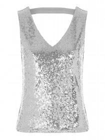 Jane Norman Silver Scoop Back Sequin Top