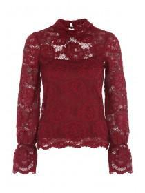 Jane Norman Berry Bell Sleeve Lace Top