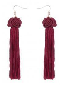 Womens Red Knot Tassel Earrings