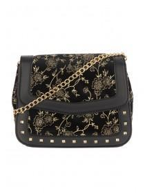 Womens Gold and Black Stud Detail Bag