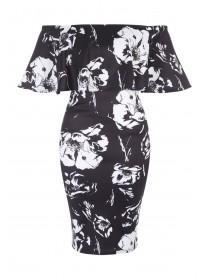 Jane Norman Mono Floral Ruffle Bardot Dress