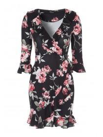 Jane Norman Floral Ruffle Wrap Dress