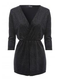 Jane Norman Grey Glitter Playsuit