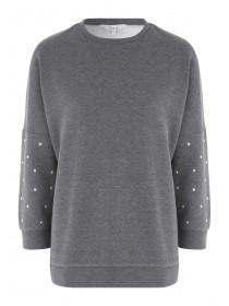 Womens Stud Sleeve Sweater
