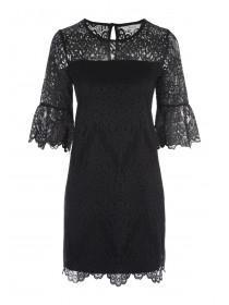Womens Black Flute Sleeve Lace Dress