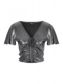 Jane Norman Silver Metallic Ruched Front Top