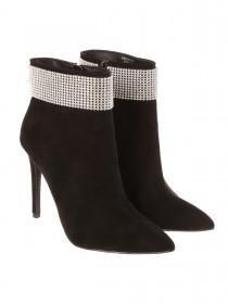 Jane Norman Black Diamante Detail Ankle Boot