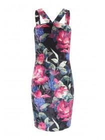Girls Sophie Black Velour Print Dress
