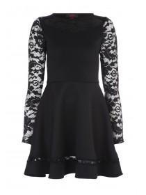 Older Girls Sophie Black Lace Skater Dress