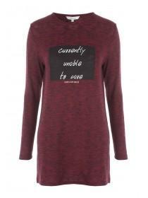 Womens Cherry Red Slogan Long Sleeve T-Shirt