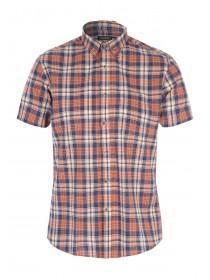 Mens Orange Short Sleeve Check Shirt
