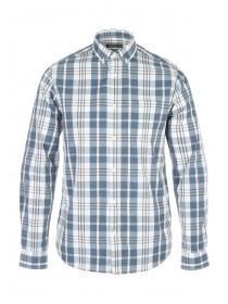 Mens Cream Long Sleeve Check Shirt