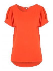 Womens Orange Split Sleeved Cold Shoulder T-Shirt