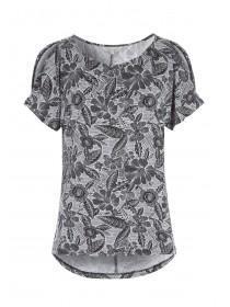 Womens Black Printed Split Sleeve Cold Shoulder Top