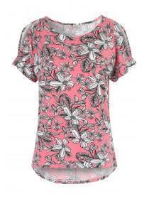 Womens Pink Printed Split Sleeve Cold Shoulder Top