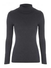 Womens Charcoal Roll Neck Jumper
