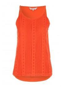 Womens Orange Lace Halter Neck Vest Top