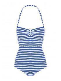 Womens Blue Striped Bandeau Swimsuit