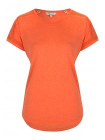 Womens Orange Crochet Shoulder T-Shirt