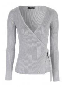 Jane Norman Grey Rib Wrap Cardigan