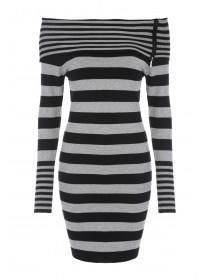 Jane Norman Grey Stripe Bardot Jumper Dress