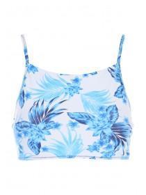 Womens White Floral Hi-Neck Bikini Crop Top