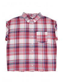 Older Girls Pink Boxy Check Shirt