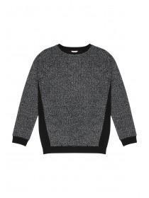 Older Girls Black Chiffon Back Sweater