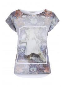 Womens White Woven Front Print T-Shirt