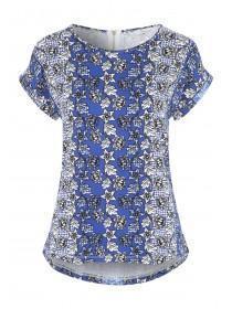Womens Mid-Blue Floral Zip Back T-Shirt