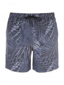 Mens Charcoal Botanical Mid Swim Shorts