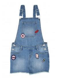Younger Girls Blue Denim Badged Dungaree Shorts