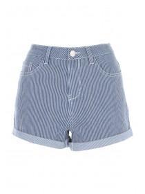 Womens Blue Striped Denim Shorts