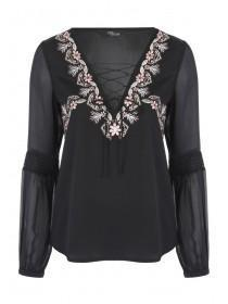 Jane Norman Black Satin Embroidered Blouse