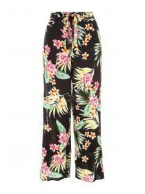 Womens Black Printed Split Side Trousers
