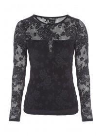Jane Norman Black Floral Mesh Top