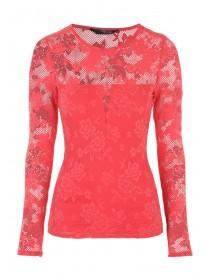 Jane Norman Coral Floral Mesh Top