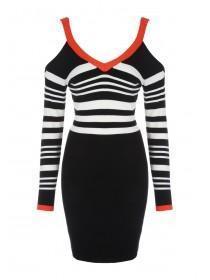 Jane Norman Mono & Red Buckle Shoulder Dress