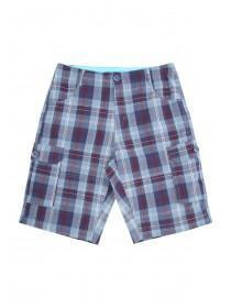 Older Boys Blue Checked Cargo Shorts