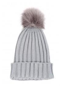 Womens Faux Fur Pom Pom Beanie Hat