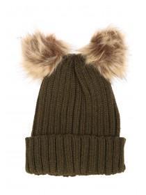 Womens Double Faux Fur Pom Pom Beanie Hat