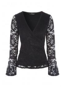 Jane Norman Black Lace Wrap Top