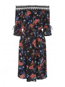 Womens Black Rose Lace Trim Bardot Dress
